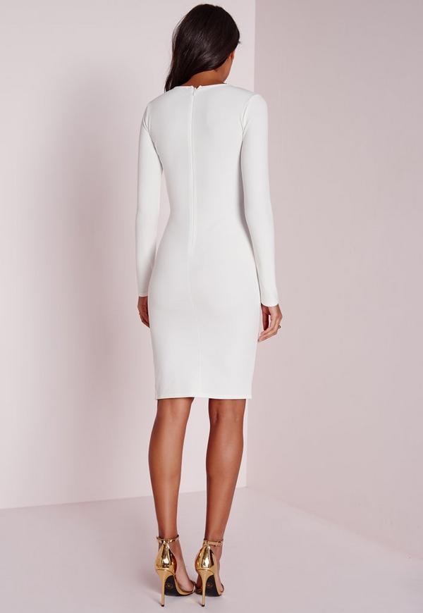 Long Sleeve Zip Detail Midi Dress White - Dresses - Midi Dresses ...