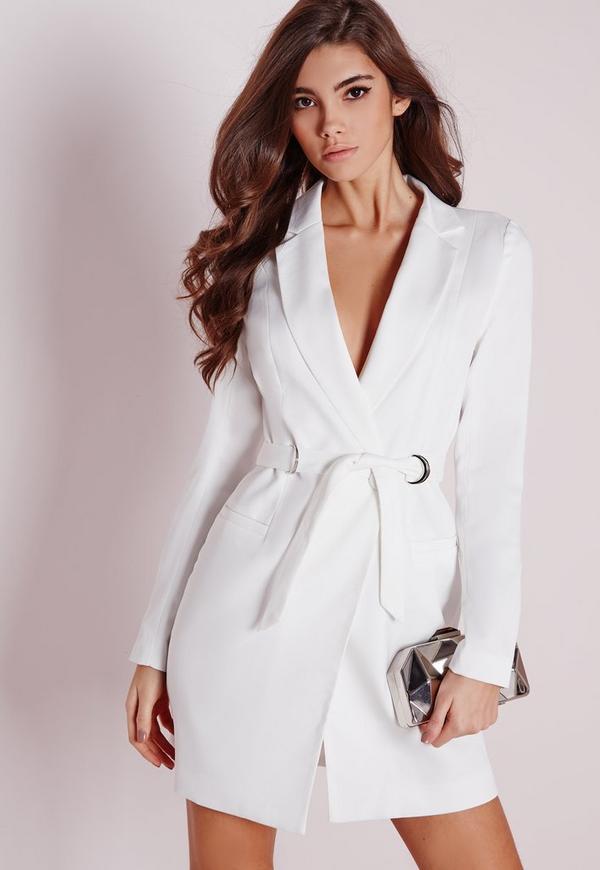 D-Ring Blazer Dress White