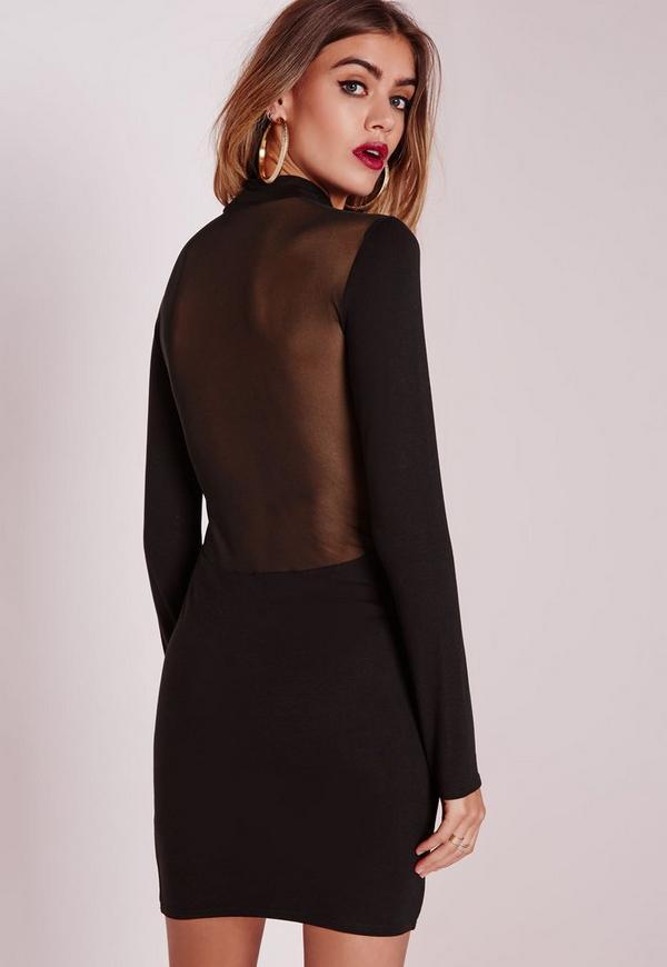 Jersey Mesh Back Bodycon Dress Black