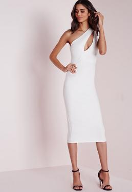 One Shoulder Split Midi Dress White
