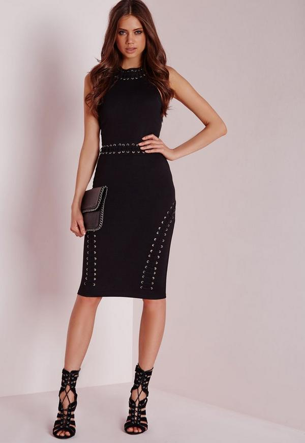 Halterneck Lace Up Detail Bodycon Dress Black