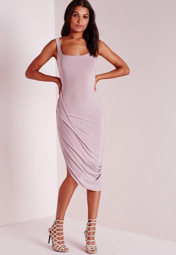 Slinky Draped Midi Dress Mauve