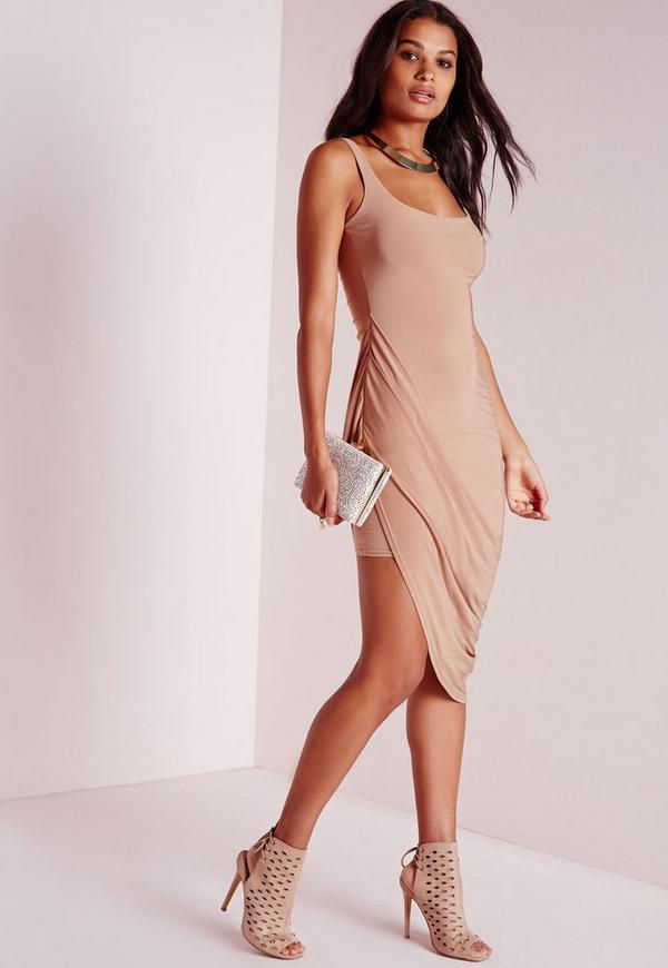 Slinky Draped Midi Dress Camel
