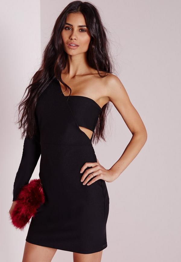Crepe One Shoulder Bodycon Dress Black