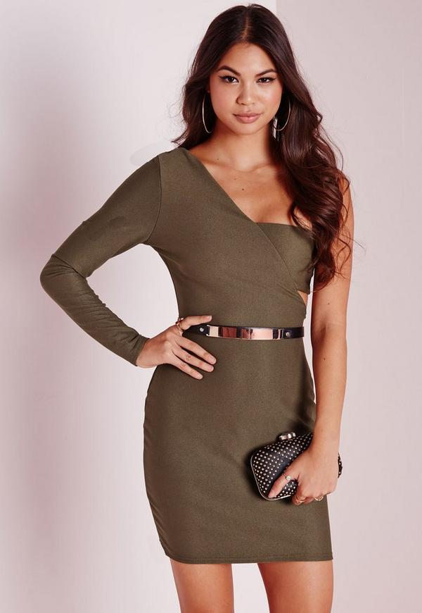 Crepe One Shoulder Bodycon Dress Khaki
