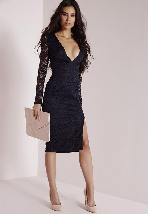 Lace Long Sleeve Side Split Midi Dress Navy