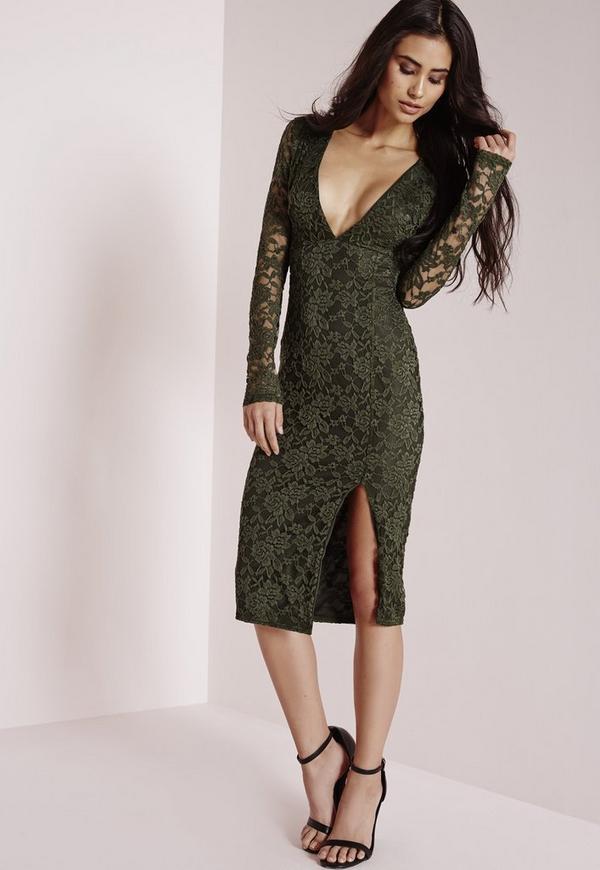 Lace Long Sleeve Side Split Midi Dress Khaki