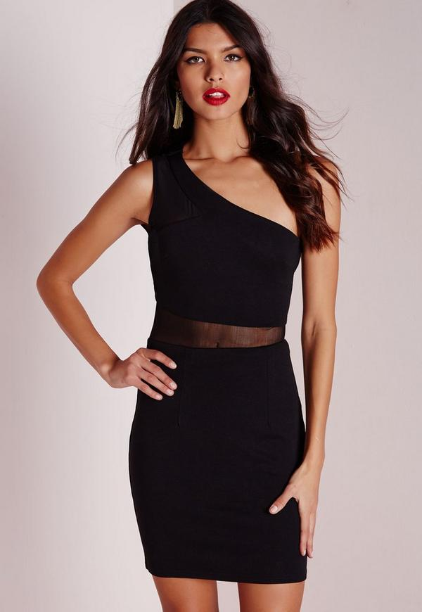 One Shoulder Mesh Insert Bodycon Dress Black