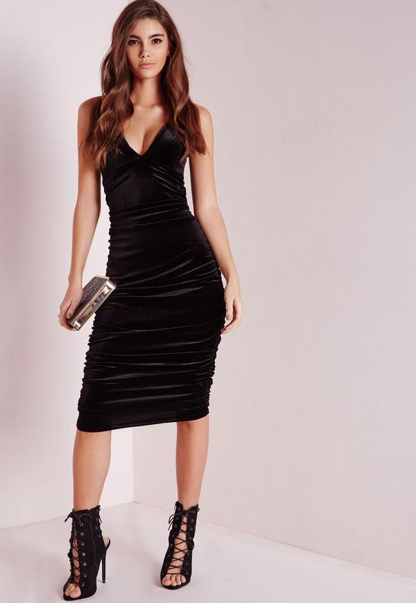 Velvet Double Strap Ruche Midi Dress Black