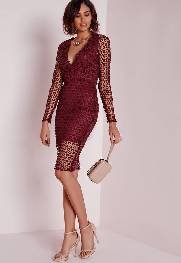Circle Lace Midi Dress Burgundy