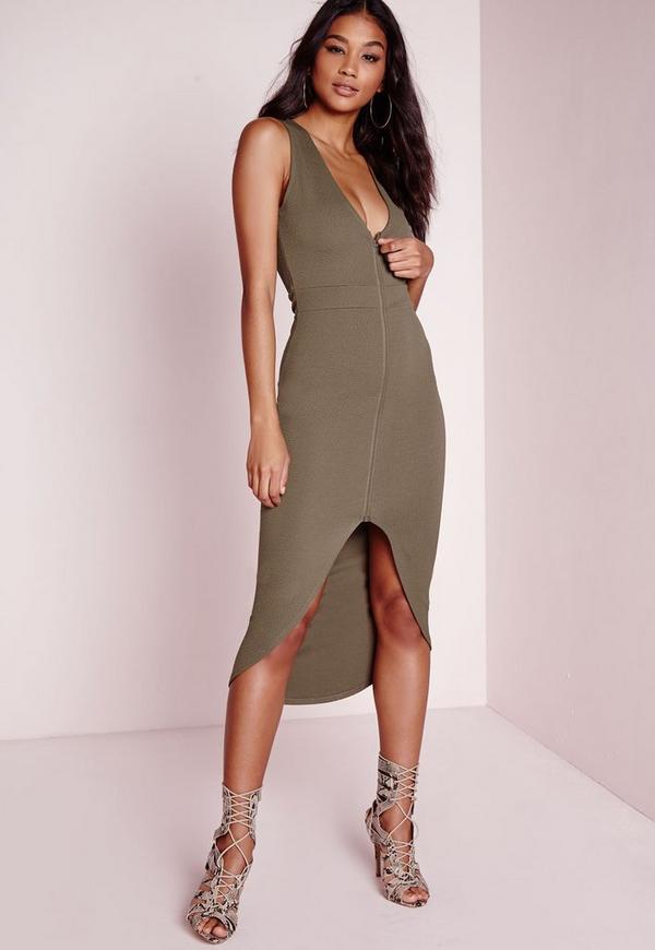 Textured Front Zip Sleeveless Midi Dress Khaki