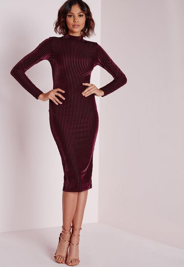 Velvet Ribbed Long Sleeve Midi Dress Burgundy