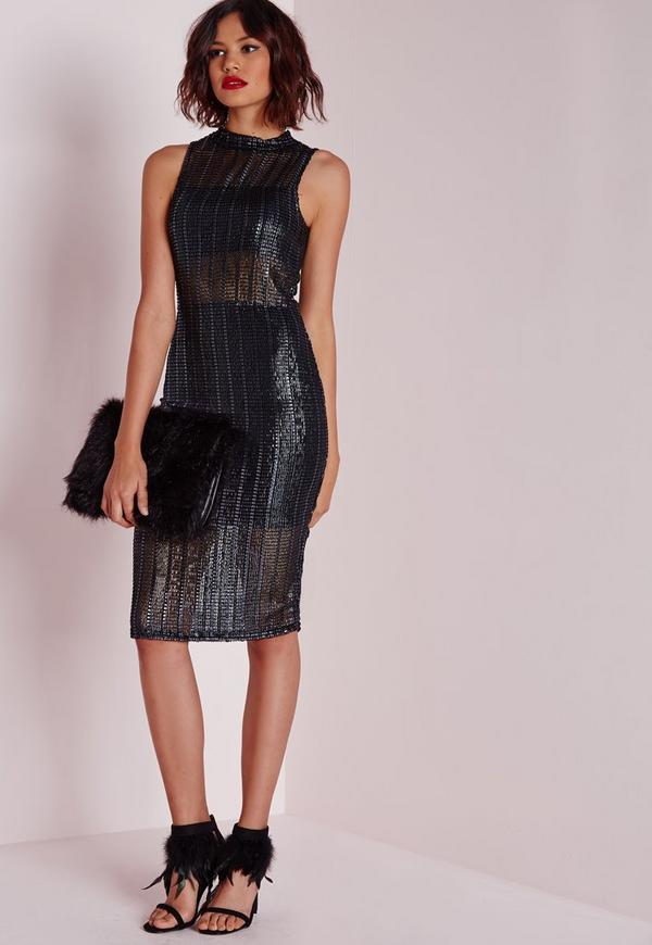 Foiled Mesh Dress Navy