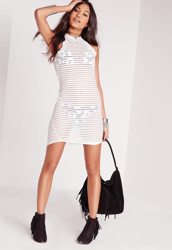 Sheer Stripe Bodycon Dress White