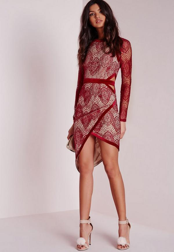 Lace Binding Asymetric Midi Dress Red