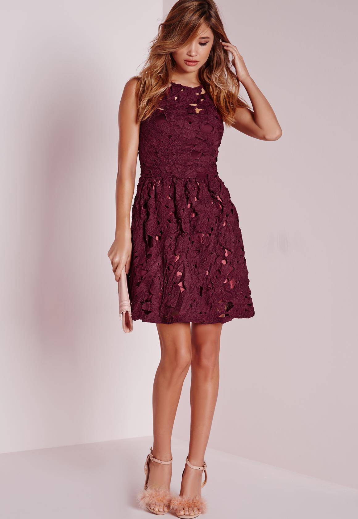 Sleeveless Lace Skater Dress Plum | Missguided