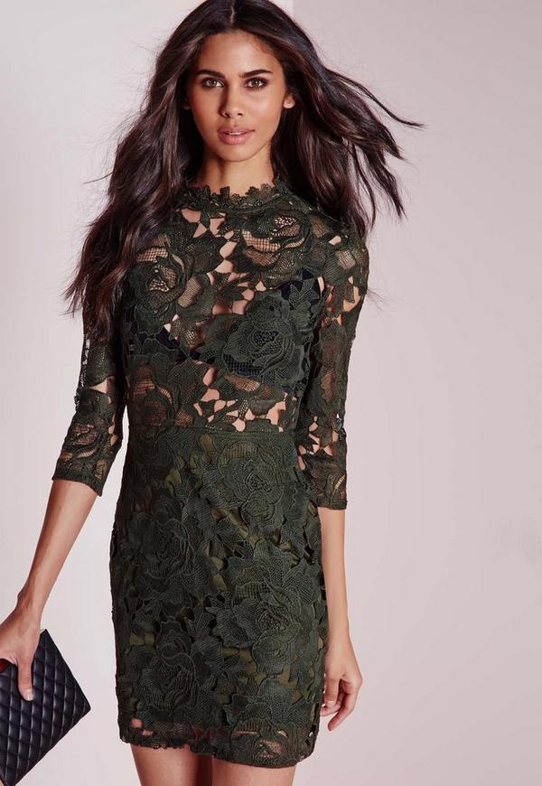 Lace High Neck Bodycon Dress Khaki