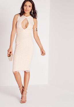 Keyhole Lace Midi Dress Nude