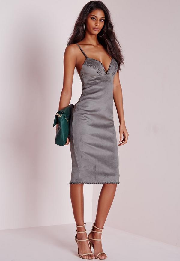 Suedette Plunge Midi Dress Grey