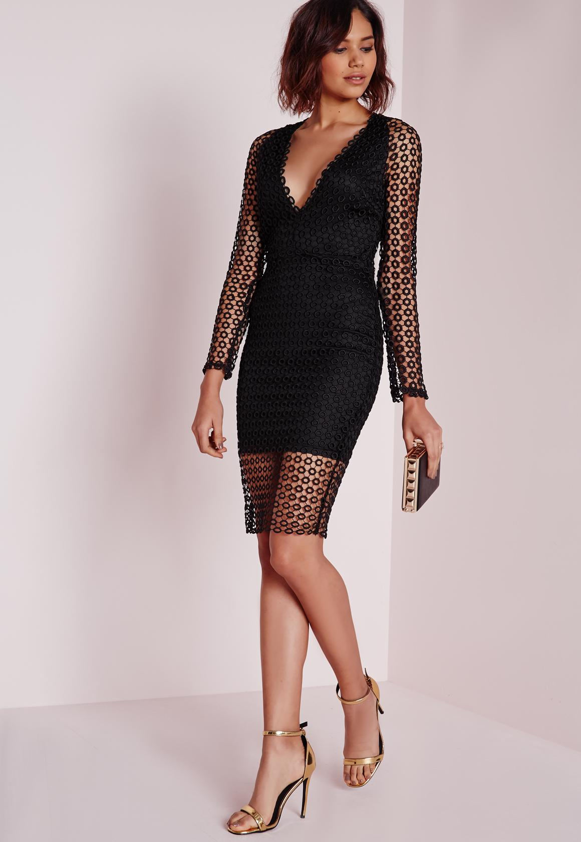 Black midi lace dress