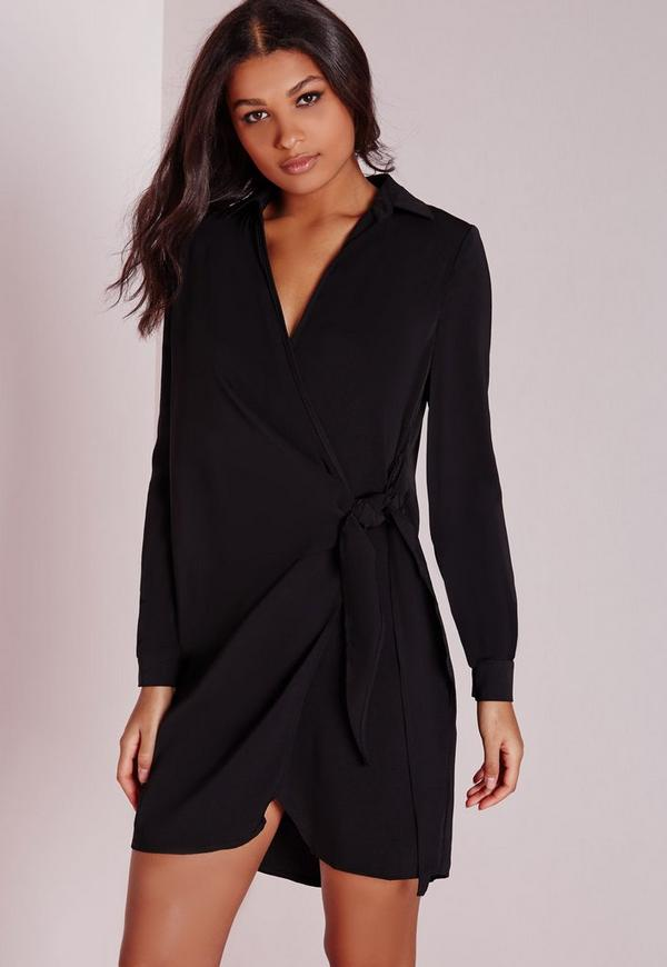 Crepe Wrap Shirt Dress Black