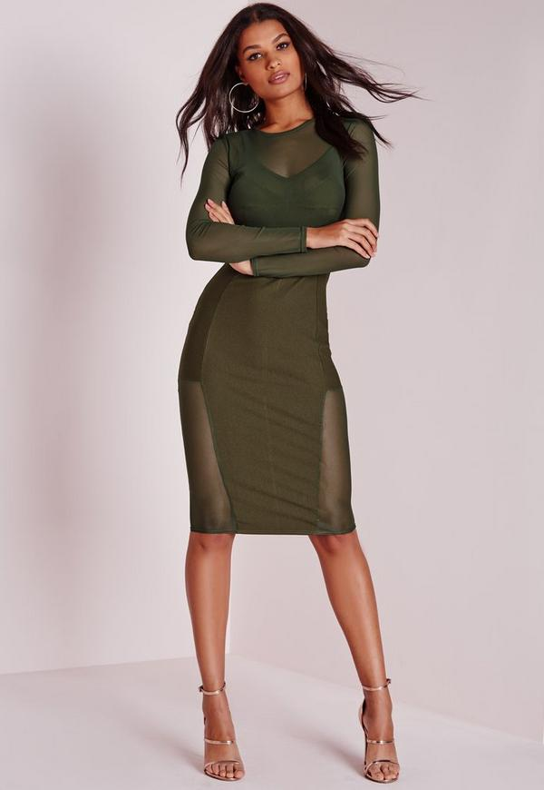 Long Sleeve Mesh Midi Dress Khaki