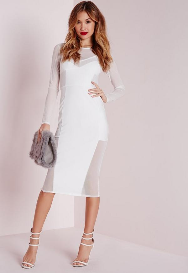 Long Sleeve Mesh Midi Dress White