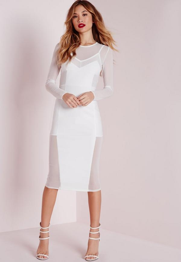Long Sleeve Mesh Midi Dress White | Missguided
