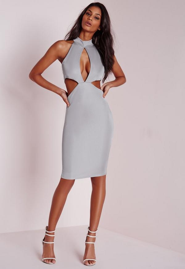 Bandage Sleeveless Keyhole Cut Out Midi Dress Grey