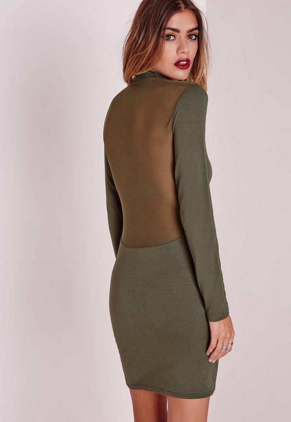 Jersey Mesh Back Bodycon Dress Khaki
