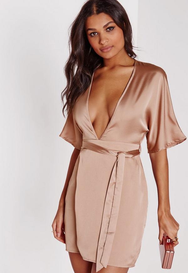 Silky Kimono Wrap Dress Dusky Pink