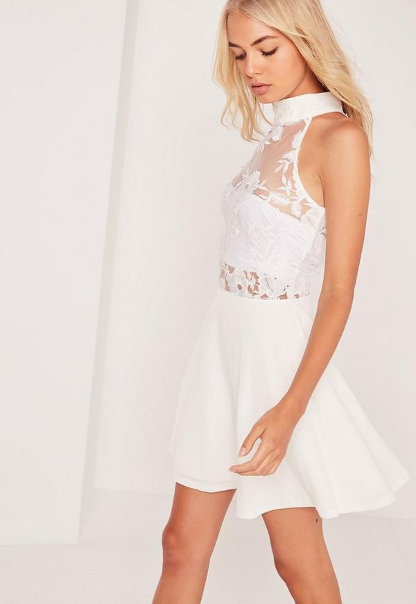Lace Top Sleeveless Skater Dress White