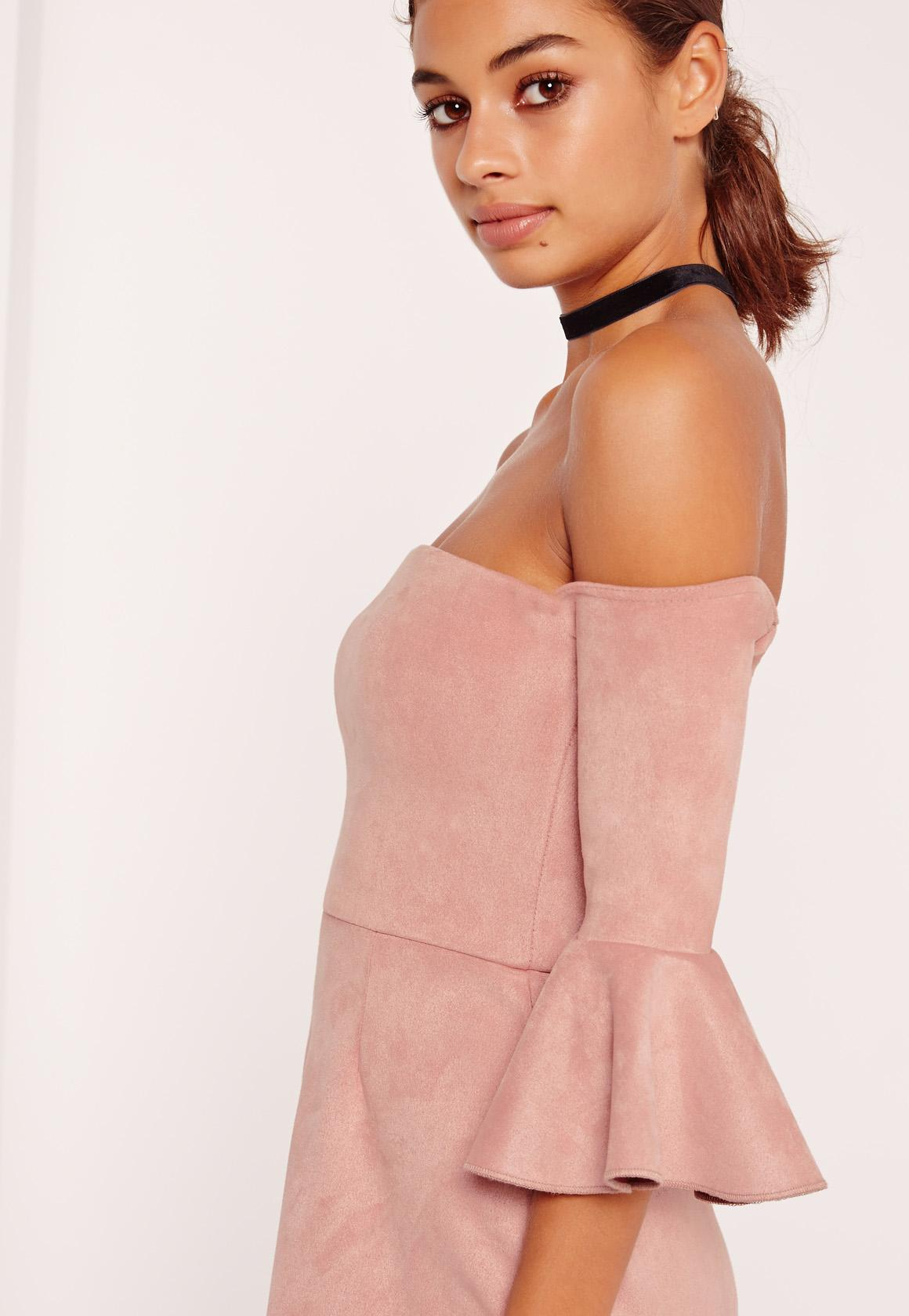 Bonded Faux Suede Frill Cuff Bodycon Dress Pink