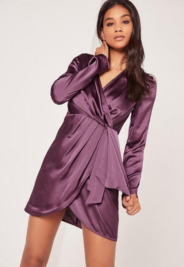 Vestido recto sedoso de manga larga con diseño cruzado morado ...