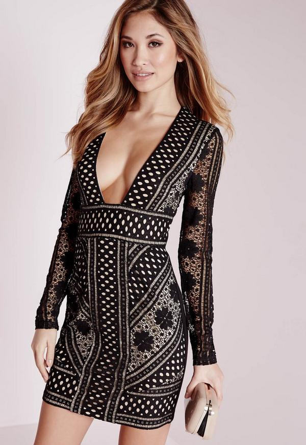 Lace Long Sleeve Plunge Bodycon Dress Black/Nude