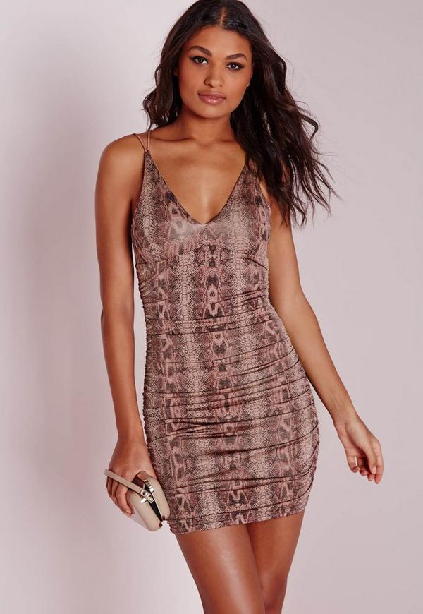 Slinky Snake Ruched Midi Dress Pink