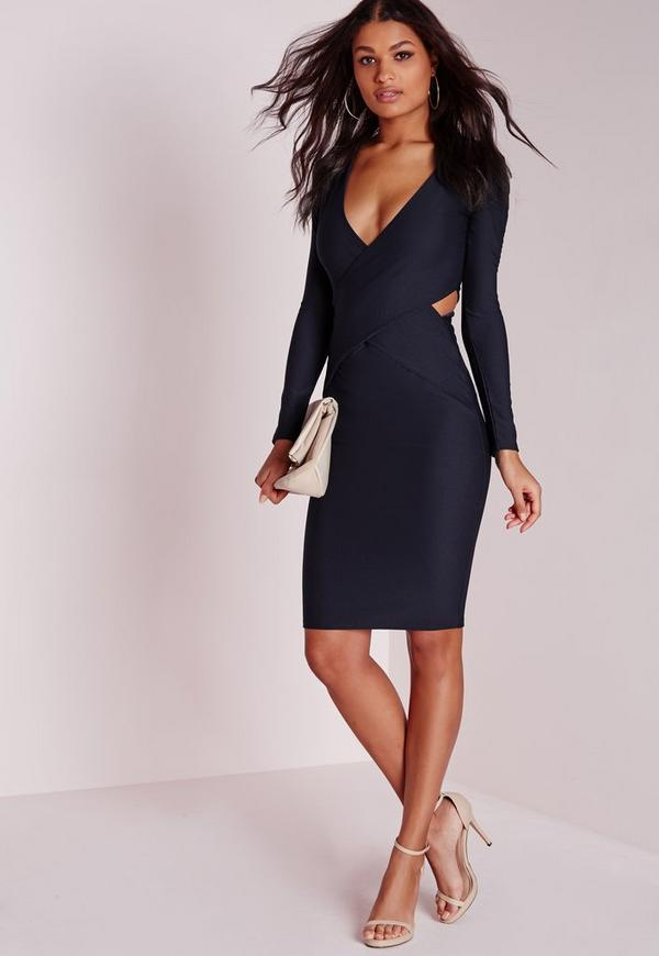 Cut Out Bodycon Dress Navy