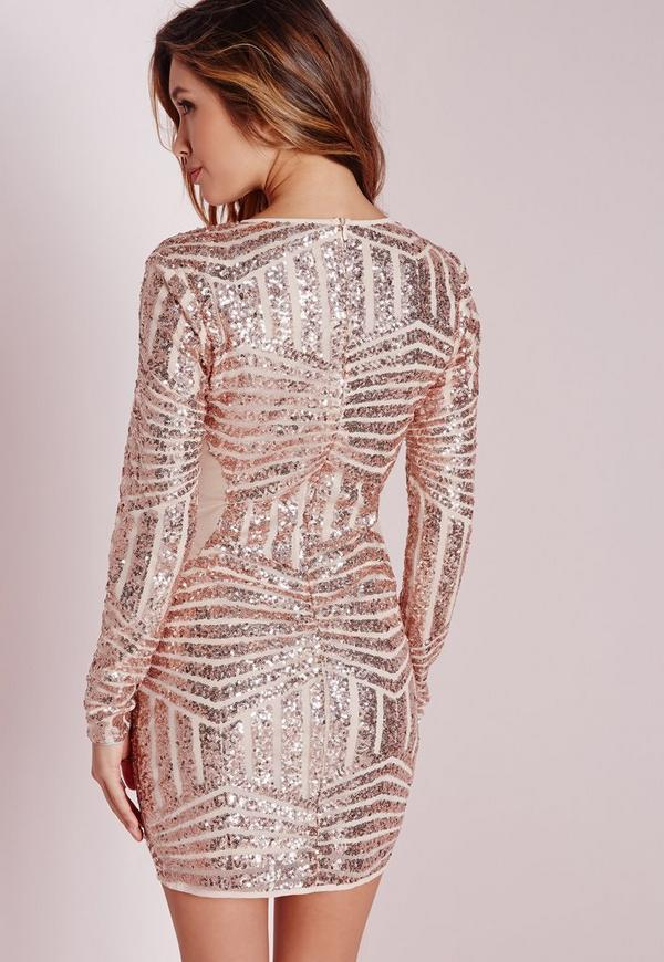 Long Sleeve Sequin Bodycon Dress Rose Gold | Missguided