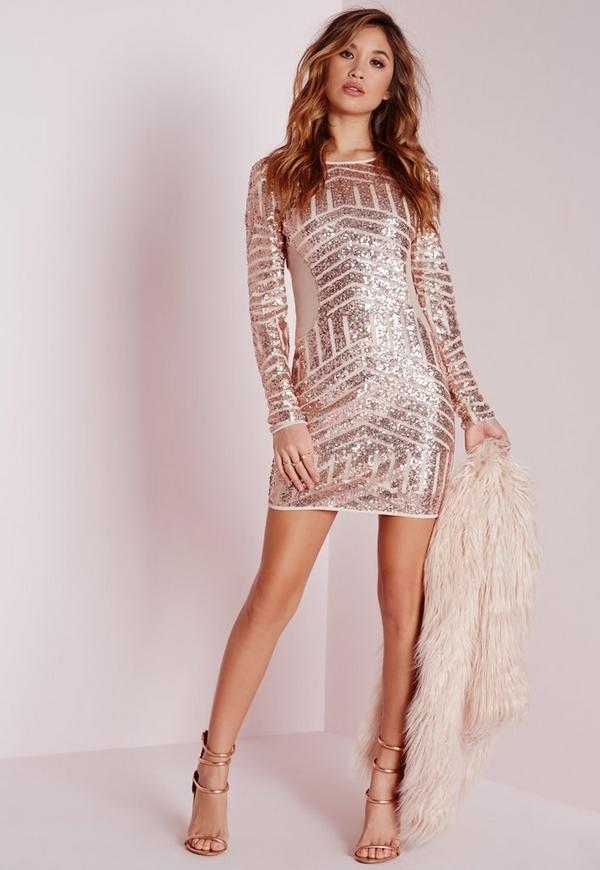 long sleeve sequin bodycon dress rose gold missguided. Black Bedroom Furniture Sets. Home Design Ideas
