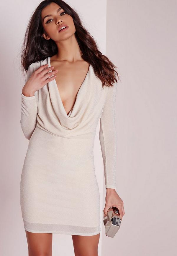Cowl Back Bodycon Dress Nude