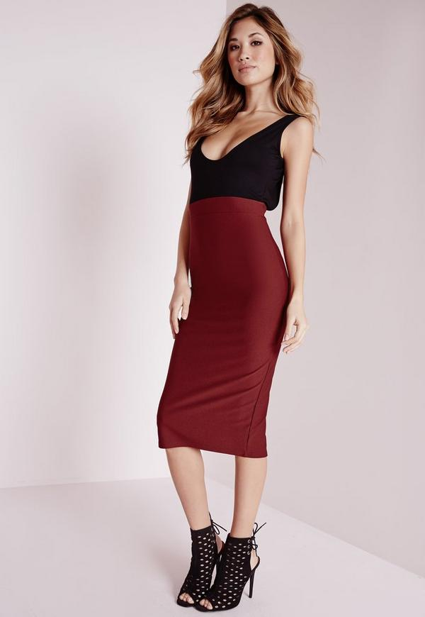 Jersey Contrast Low Back Midi Dress Black/Burgundy