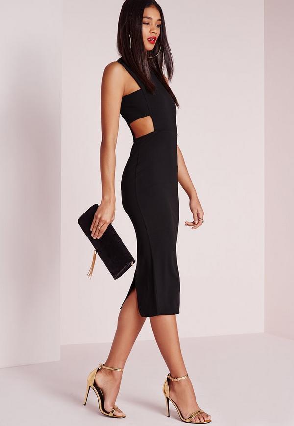 Bandeau Insert Midi Dress Black