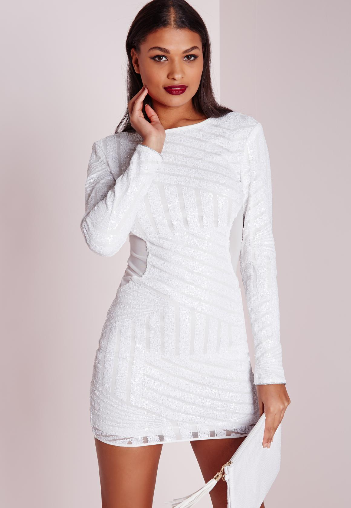 Long Sleeve Sequin Bodycon Dress White | Missguided