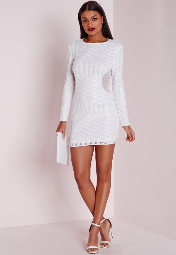 Long Sleeve Sequin Bodycon Dress White - Dresses - Party Dresses ...