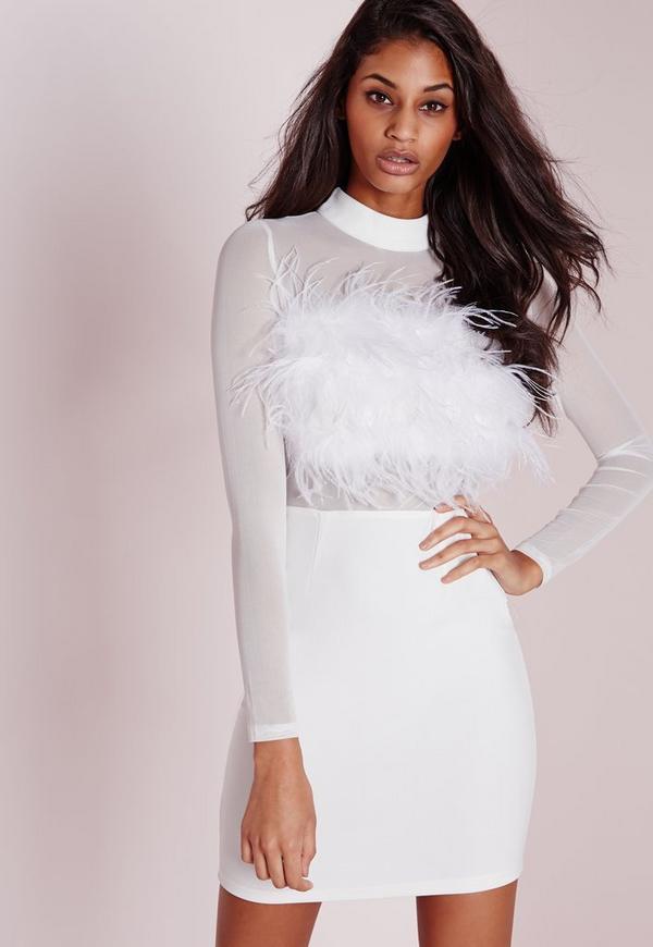 Feather Trim Mesh Sleeve Bodycon Dress White