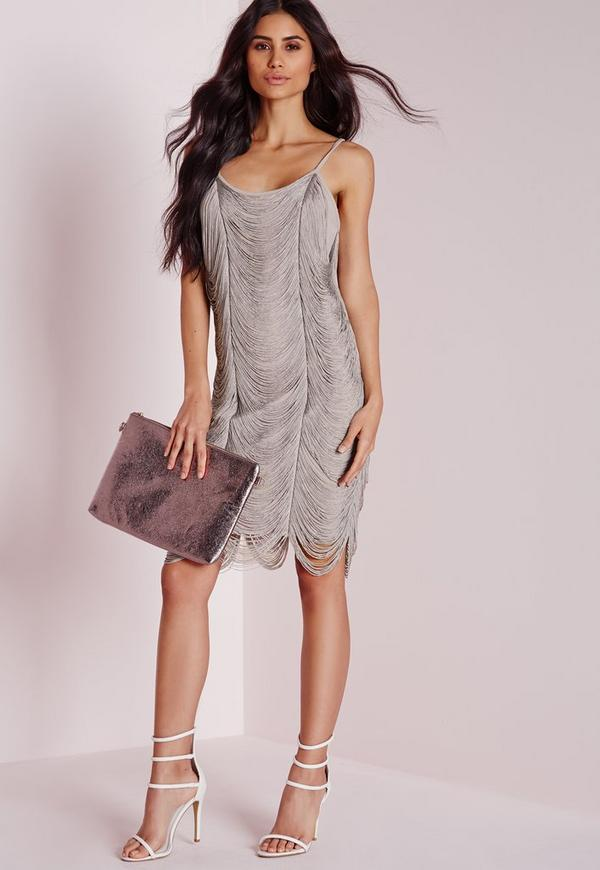 Fringe Drape Bodycon Dress Pale Grey
