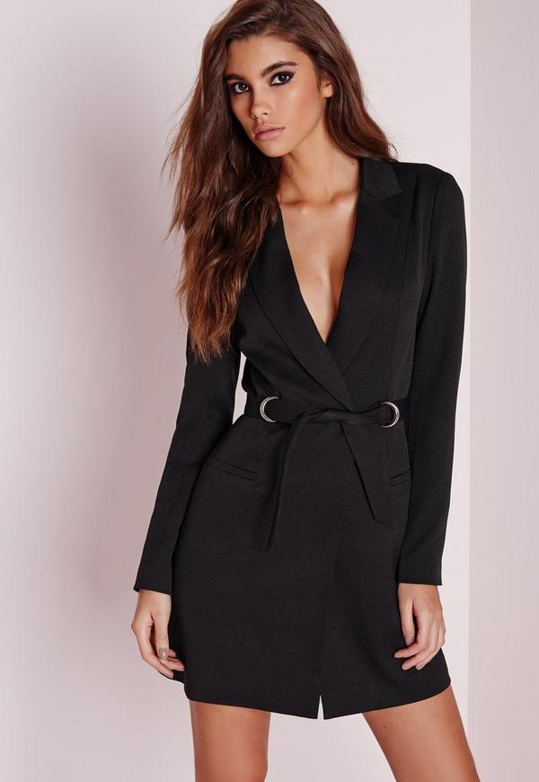 D Ring Blazer Dress Black Missguided