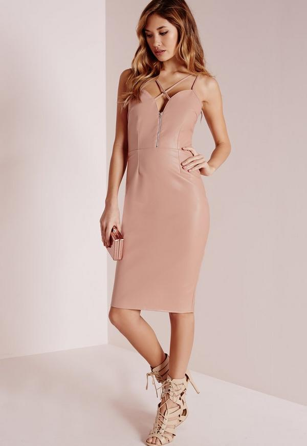Faux Leather Cross Strap Midi Dress Rose