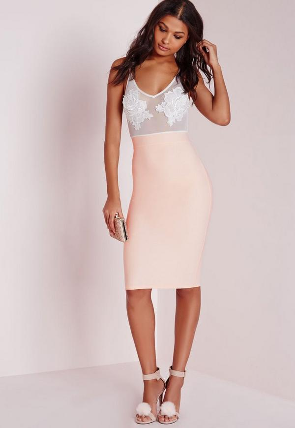 Embroidered Bust Detail Bodycon Dress Nude/White
