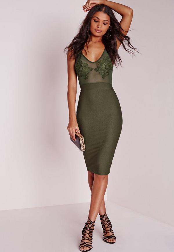 Embroidered Bust Detail Bodycon Dress Khaki